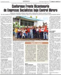 Venezuela: Correo del Orinoco escribe sobre Frente Bicentenario